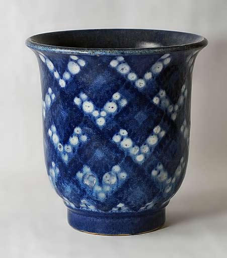 Andre-Plantard-for-Sevres Earthenware-faience-vase-with-glossy-glaze-in-shades-of-blue-and-white,-1931