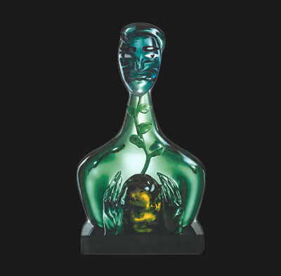 Green glass bust -Elvira-Bach