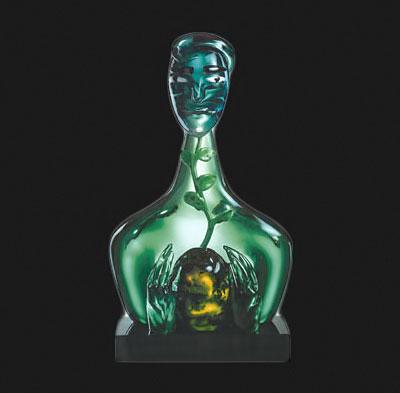 Green glass bust -Elvira-Bach