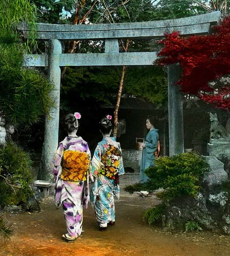 okinawa-soba----three Geisha girls at the garden gate