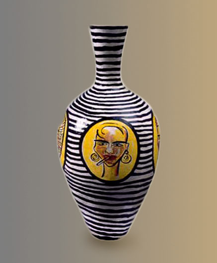 Black and white horizontally striped vase with yellow face portrait motifs by Elvira Bach