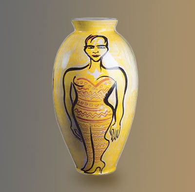 Yellow vase with standing female motif by Elvira Bach
