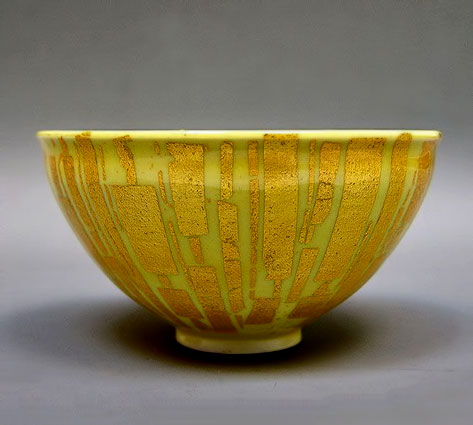 Gold-and-Yellow-Chawan-Tea-Bowl-by-Ono-Hakuko