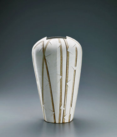 Jar-of-irregular-shape-with-colored-slip-decoration by Ryuji Miyahara