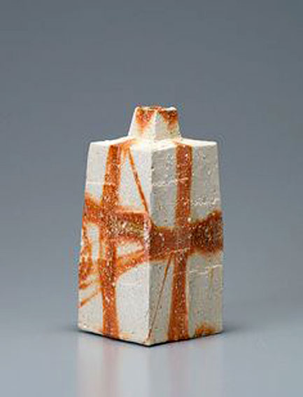 Ken-Matsuzaki,-Square-vase,-hidasuki-technique,-stoneware,-10-x-5-x-5-inches - orange and white glaze