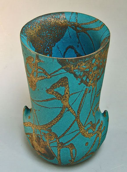 Large-turquoise vase-by-Morino-Taimei-with gold highlights