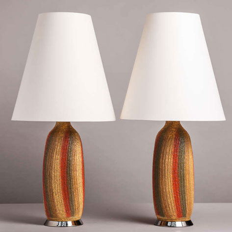 Pair--Textured-Ceramic-Table-Lamp-1960s-Talisman