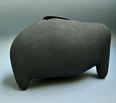 Footed abstract ceramic sculpture-by-Takiguchi-Kazuo---mjc