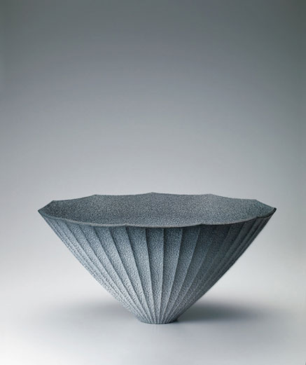 Shino-dark-blue-flower-vessel.--Hiroshi-Sakai-GALLERY-JAPAN---Japanese-traditional-art-crafts