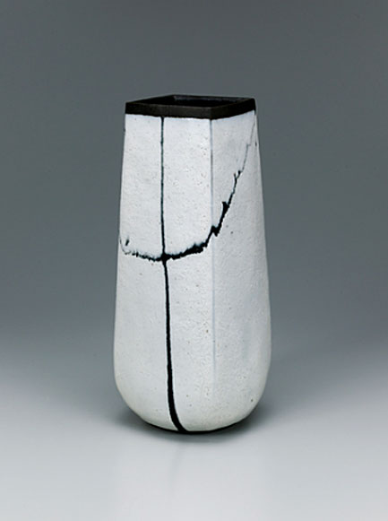 Square-vase-with-white-glaze-and-trailed-glaze-decoration by Ryo Suzuki