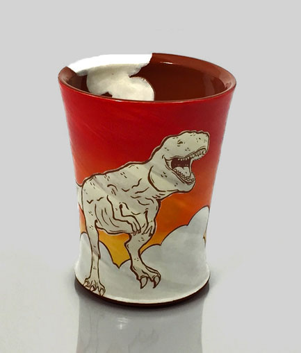 Kip-Okrongly-kip-okrongly-T-rex-tumbler in red, orange and white