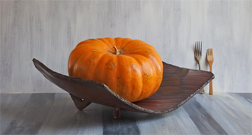 Catherine-White---2009-Winter-Solstice---Orange pumpkin on a ceramic platter