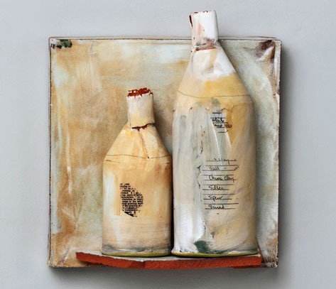 Ceramic bottles and wall shelf by Nancy Selvin