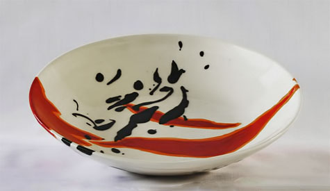Elnaz-Nourizadeh---Eli---elnazceramic--bowl-in white, red and black