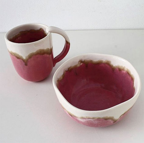 Elnaz-Nourizadeh---Eli---elnazceramic--pink, brown and white mug-and-bowl