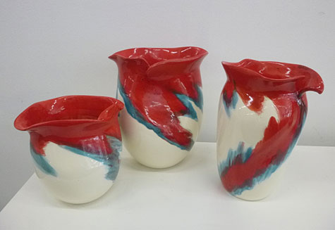 Elnaz-Nourizedah - crimson, white and turquoise jugs