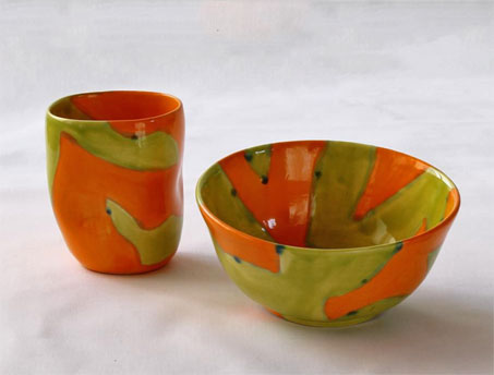 Elnaz-Nourizedah--Collection--Olive green and orange mug and bowl