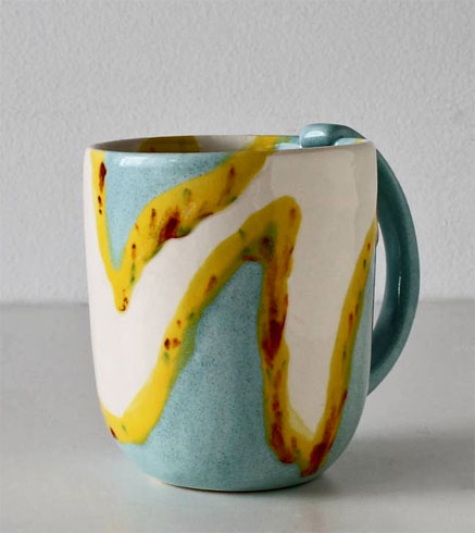 Elnaz-Nourizedah---Tableware=green-white and yellow mug