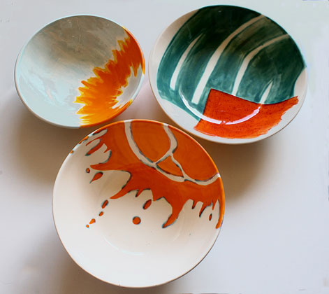 Elnaz-Nourizedah-bowls-painted with absstract motifs