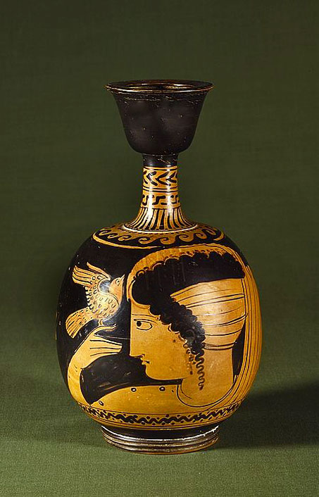 Etruscan-lekythos-,-c350BC with female head motif and bird