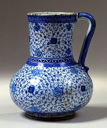 Blue and white Fritware-jug---Iznik,-Turkey;-c