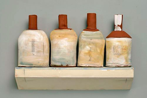 Nancy-Selvin-four ceramic bottles on a shelf