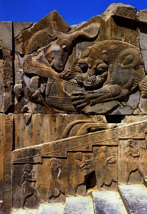 Persepolis-Citadel---Lion-Attacking-Bull-Relief