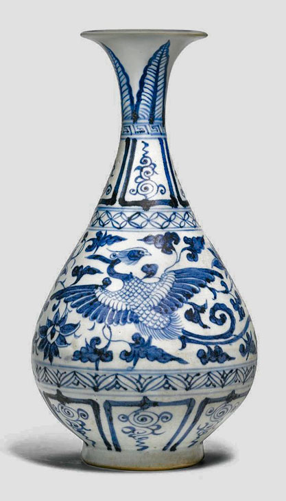 Blue and white ceramic 'Phoenix'-vase,Yuan-dynasty