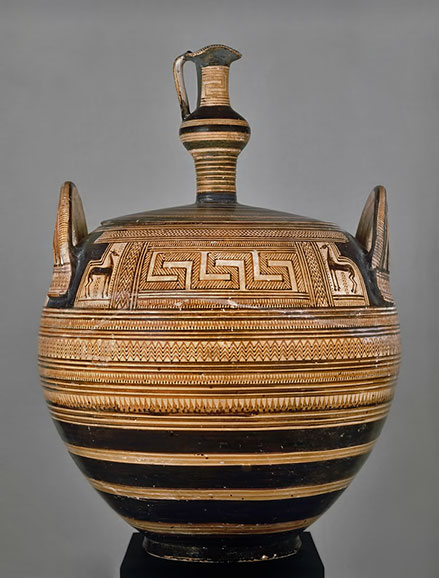 Pyxis-with-a-lid-in-the-form-of-an-Oinochoe Dept-of-Greek,-Etruscan,-and-Roman-Antiquities-The-Origins-of-Greek-Art,-the-Bronze-Age,-and-the-Geometric-Style---MET