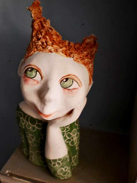SUZIE---Jackie-ALONSO ceramic bust of a cute red haired girl