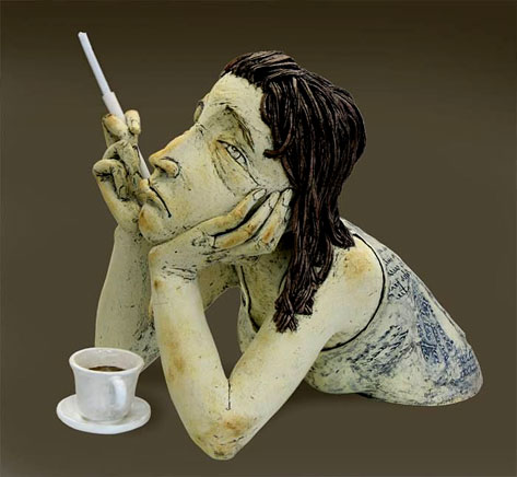 Sigita-Lukosiunas-'Tea-Break' woman smoking a cigarette on her break figurine bust