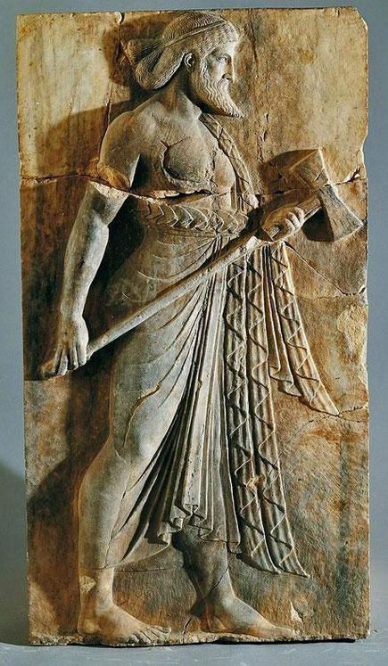 Vulcan-(Hephaestus),-Roman-relief-(marble),-from-Herculaneum,-c