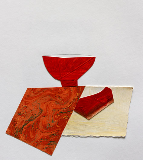 Works-—-Nancy-Selvin red tea bowl-w-Marbled-Napkin,-MixMedia-on-Paper,-10x11,-2009