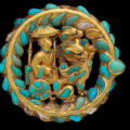 golden-boot-buckles--decorated-with-turquoise-and-carnelian