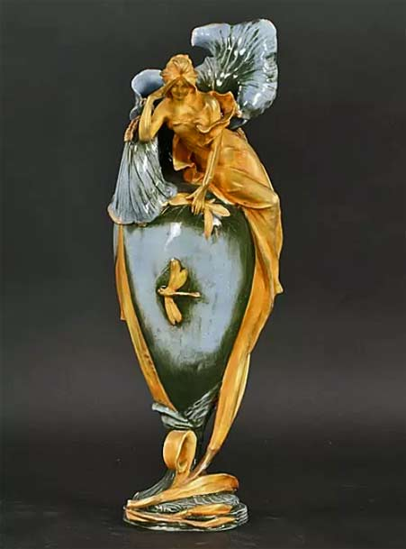 ANTIQUE-AUSTRIAN-ART-NOUVEAU-Iris female figurine vase