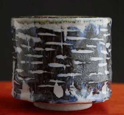 Adam-Whatley-ceramics - Nass shino cup - combination of iron oxide and cobalt to create a black stain