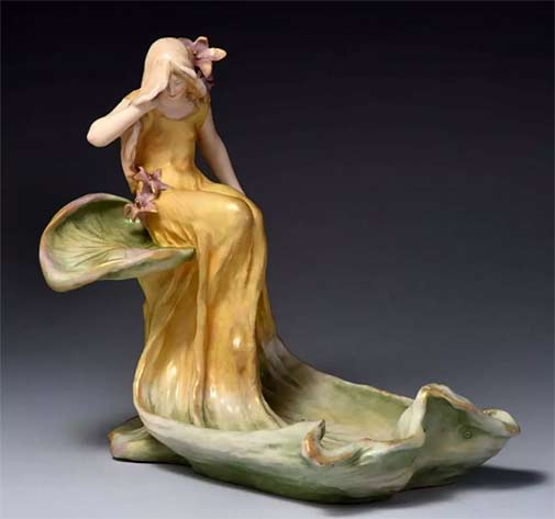 Amphora-Ceramic-Figural-Centerpiece of a girl seated on a leaf