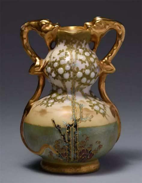 Amphora-Ceramic-Gourd Vase-w--Applied-Dragon-Handles