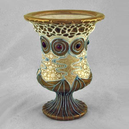 Amphora-Klimt-gold, blue and white Vase-1901