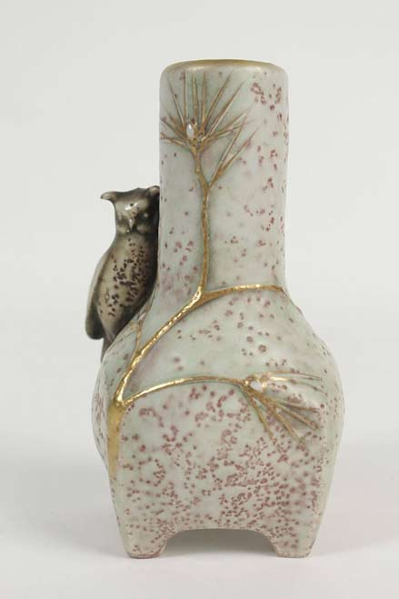 Amphora-Shaped-Vase-with-an-Owl,-Viennese,-Austria--
