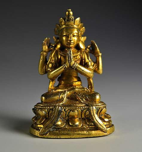 Antique-miniature-Chenrezig-statue