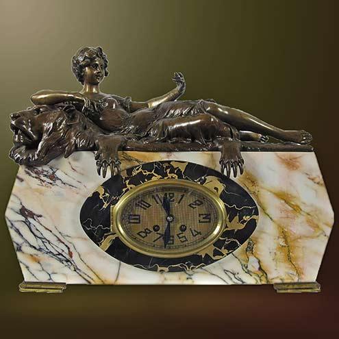 Art-Nouveau-Art-Deco-marble-Mantelclock---Ruyten