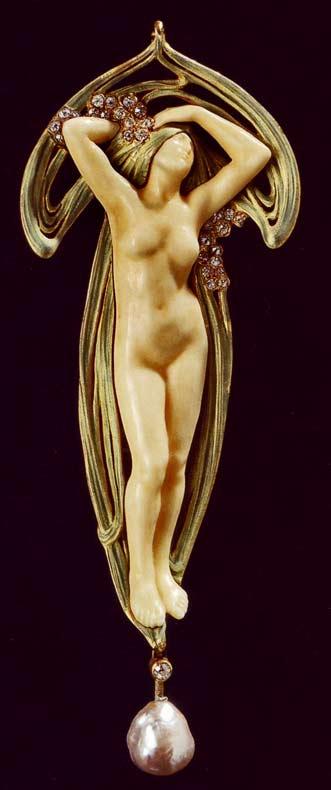 Art-Nouveau-pendant of a nude female.-Maison-Vever