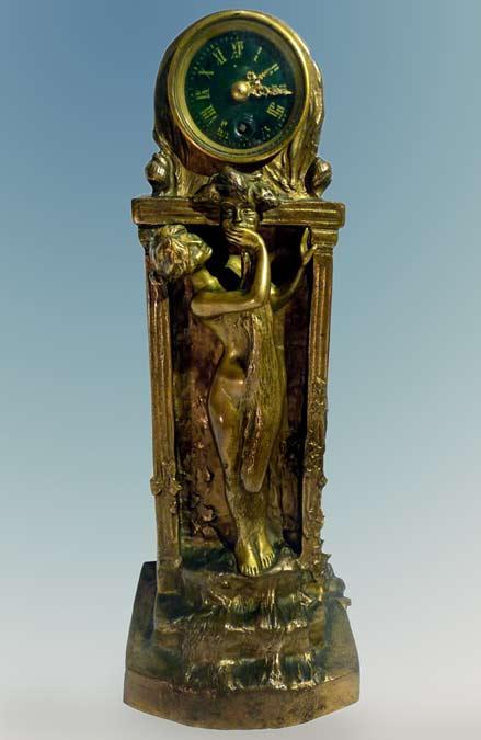 Charles-Korschann,-an-Art-Nouveau-Two-Patina-Bronze-Clock,-1897,-LE-Secret-Robert-Zehil-Gallery-Monte-Carlo