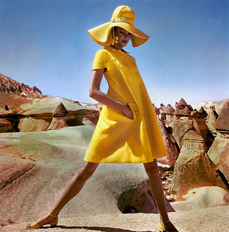 Editha-Dussler-in-bright-yellow-fly-front-linen-smock-by-Hannah-Troy--photo-by-Henry-Clarke--Goreme--Turkey--Vogue-1966---Flickr---Photo-Sharing-
