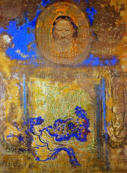 Evocation_Odilon_Redon painting in gold and blues