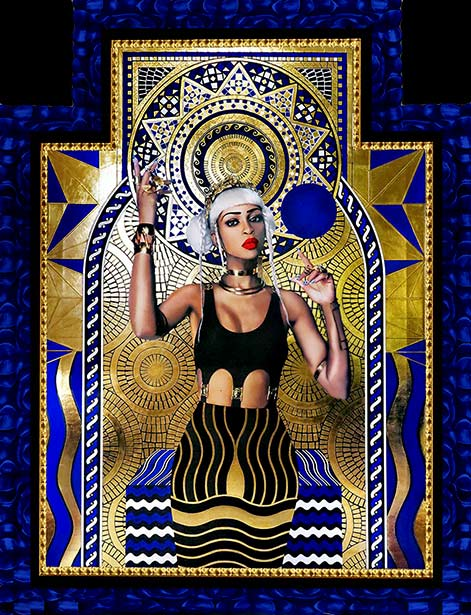 Lina-Viktor-gilded-painting art deco in blud