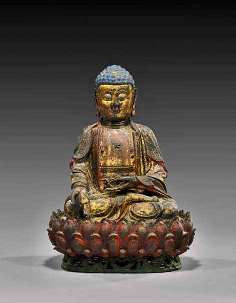 Gilded Ming-Dynasty-Buddha,-16-inches,-sold-to-Internet-bidder-for-$54,900.-I.M.-Chait-image