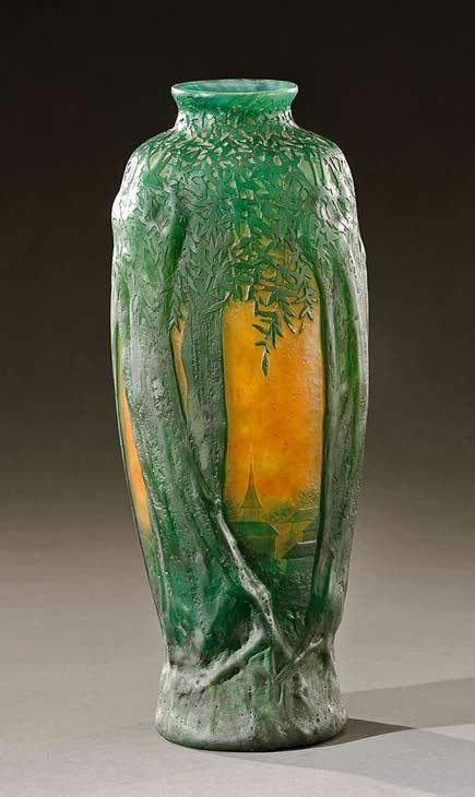 Saules-soleil-couchant-( sun setting Saules ) vase Daum-Nancy