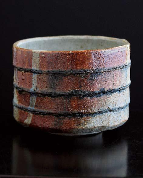 Adam Whatley shino bowl with horizontal gosu lines